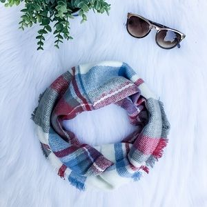Blue Paid Infinity Scarf